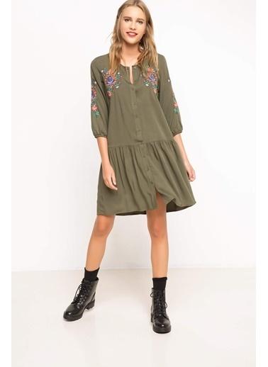 DeFacto İşlemeli Elbise Haki
